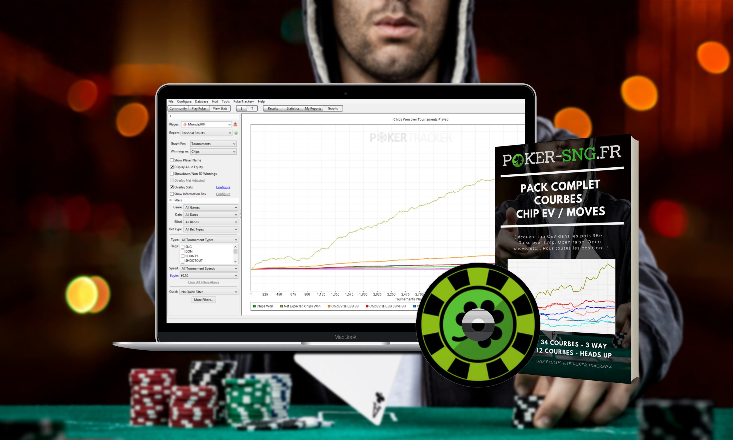 Logiciel Poker Tracker 4 - Pack complet - chip ev - moves